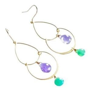 NWOT - Amethyst & Onyx Chandelier Earrings